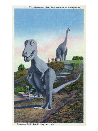 Rapid City, South Dakota, Dinosaur Park View of T-Rex, Brontosaurus Statues Print by  Lantern Press