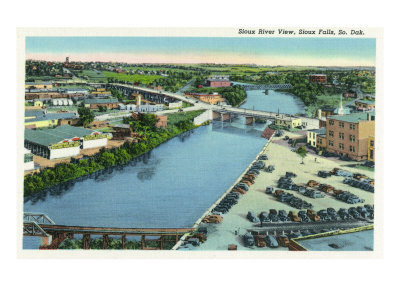 Sioux Falls, South Dakota, Aerial View of the Sioux River Posters by  Lantern Press