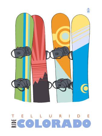Telluride, Colorado, Snowboards in the Snow Prints by  Lantern Press