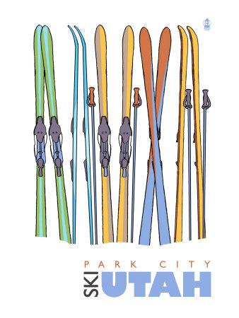 Park City, Utah, Skis in the Snow Prints by  Lantern Press