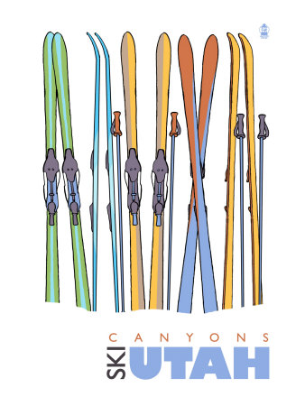 Canyons, Utah, Skis in the Snow Posters by  Lantern Press