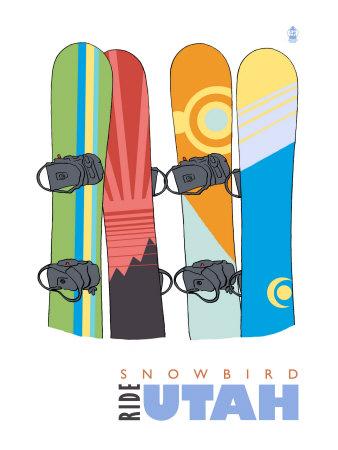 Snowbird, Utah, Snowboards in the Snow Posters by  Lantern Press