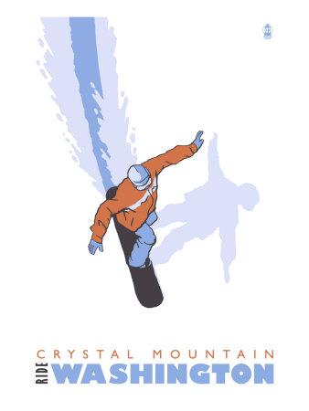 Crystal Mountain, Pennsylvania, Stylized Snowboarder Prints by  Lantern Press