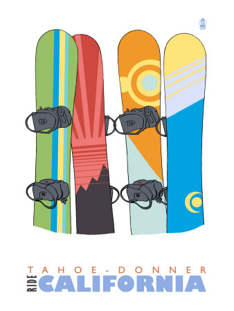 Tahoe-Donner, California, Snowboards in the Snow Posters by  Lantern Press