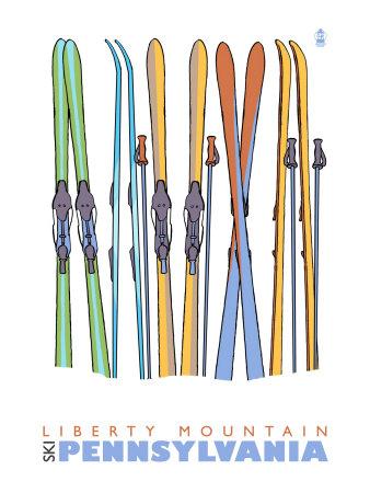 Liberty Mountain, Pennsylvania, Skis in the Snow Posters by  Lantern Press