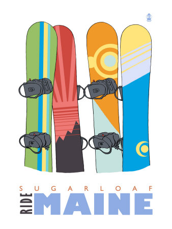 Sugarloaf, Maine, Snowboards in the Snow Prints by  Lantern Press