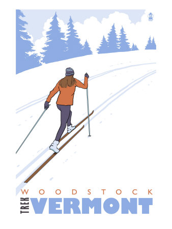 Cross Country Skier, Woodstock, Vermont Poster by  Lantern Press