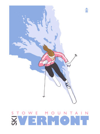 Stowe Mountain, Vermont, Stylized Skier Posters by  Lantern Press
