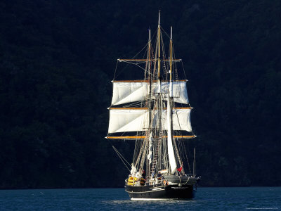 Spirit of New Zealand Tall Ship, Marlborough Sounds, South Island, New Zealand Photographic Print by David Wall