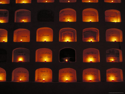 Candles Light the Graves of Niches in the Cemetary, Oaxaca, Mexico Photographic Print by Judith Haden