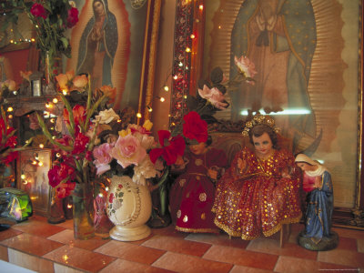 Altar with Candles, Flowers, and Spiritual Imagery for the Day of the Dead Celebration, Mexico Photographic Print by Judith Haden