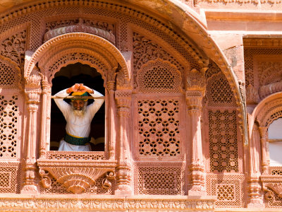 Man in Window of Fort Palace, Jodhpur at Fort Mehrangarh, Rajasthan, India Photographic Print by Bill Bachmann