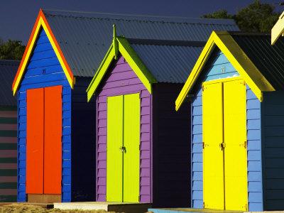 Bathing Boxes, Middle Brighton Beach, Port Phillip Bay, Melbourne, Victoria, Australia Photographic Print by David Wall