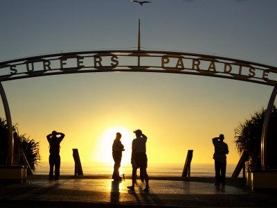 Sunrise on Surfers Paradise, Gold Coast, Queensland, Australia Photographic Print by David Wall