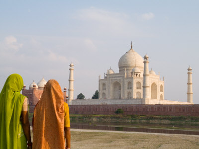 Women in Saris at Taj Mahal Temple Burial Site, Agra, India Photographic Print by Bill Bachmann