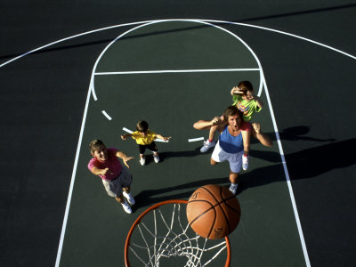Family Playing Basketball Together Photographic Print by Bill Bachmann    Family Playing Sports Together