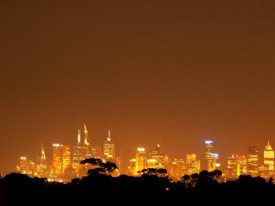 Melbourne CBD at Night, Victoria, Australia Photographic Print by David Wall