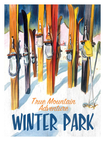 True Mountain Adventure Winter Park Giclee Print