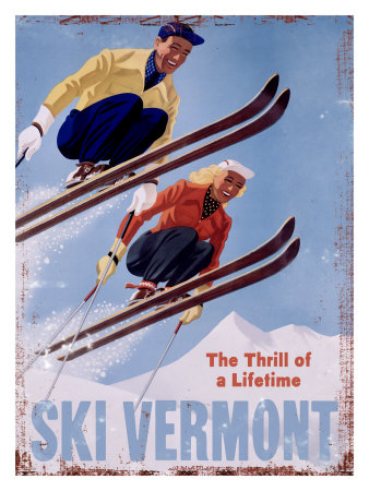 Ski Vermont, The Thrill of a Lifetime Giclee Print