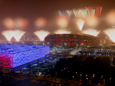 Beijing Olympics Opening Ceremony, Bird's Nest and Water Cube, Beijing, China Photographic Print