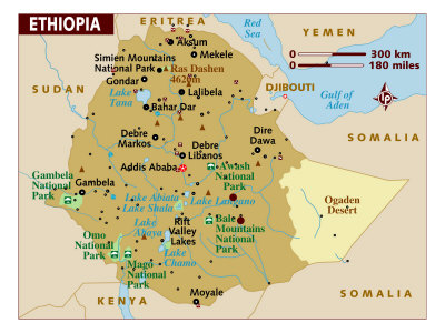 Map of Ethiopia, Africa, Photographic Print