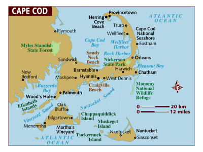 map of north american states. Map of Cape Cod, United States