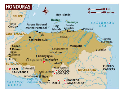 Map of Honduras, Central America, Photographic Print