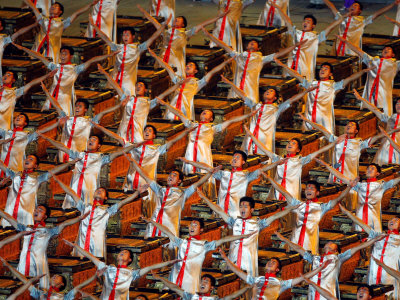 Beijing Olympics Opening Ceremony, Drummer's Performing, Beijing, China Photographic Print