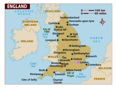Map of England, United Kingdom, Europe Maps