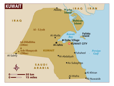 map of kuwait. Map of Kuwait, Middle East