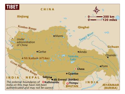 Map of Tibet, Asia, Poster