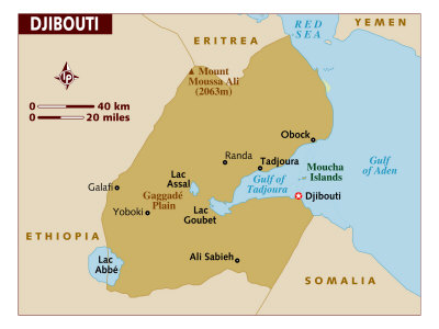 Map of Djibouti, East Africa, Poster