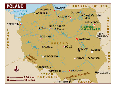 maps of poland. Map of Poland, Europe