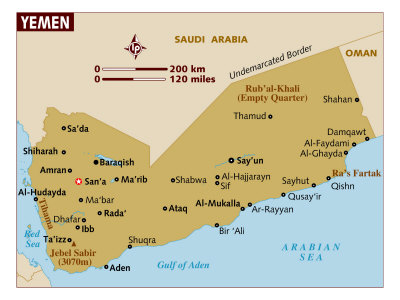 Map of Yemen, Middle East, Poster