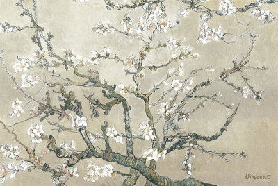 Kvetoucí větve mandloně, San Remy, c. 1890 (tan) Umělecká reprodukce
