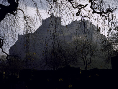 Edinburgh Castle Seen Through a Veil of Tree Branches Fotografiskt tryck på högkvalitetspapper
