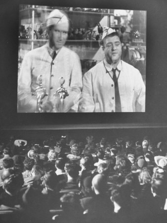 Audience at Omaha Theater Watching Abbott and Costello in Feature Picture