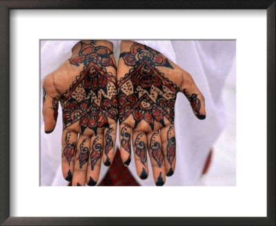 Person Displaying Henna Hand Tattoos, Djibouti, Djibouti Framed