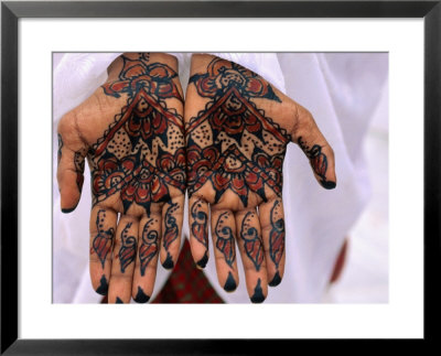 Person Displaying Henna Hand Tattoos, Djibouti, Djibouti Framed Art Print