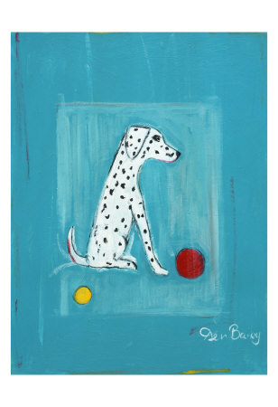 Dalmatian with Red and Yellow Ball Collectable Print by Ken Bailey
