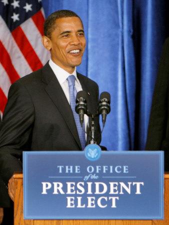 President-Elect Barack Obama Smiles Before Speaking, Press Conference, Nov 7, 2008 Photographic Print