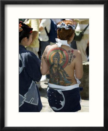 Girl with Shiva Tattoo on Back, Sensoji Temple, Asakusa, Japan Affiche