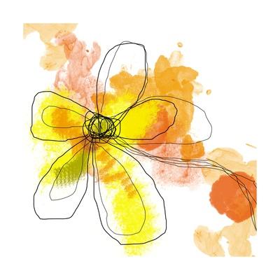 Yellow Liquid Flower Print by Jan Weiss