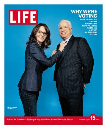 Why We're Voting, Tina Fey Straightening John McCain's Tie, October 15, 2004 Premium Photographic Print by Jake Chessum