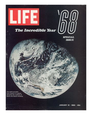 1968 Special Issue, NASA Shot of Earth from Space, Apollo 8 Mission, January 10, 1969 Premium Photographic Print