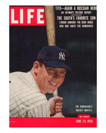 NY Yankee Slugger Mickey Mantle, June 25, 1956 Premium Photographic Print