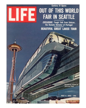 Monorail and Space Needle at World's Fair in Seattle, May 4, 1962 Photographic Print by Ralph Crane