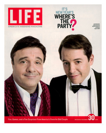 Actors Nathan Lane and Matthew Broderick Getting the Last Laugh of 2005, December 30, 2005 Premium Photographic Print by George Lange