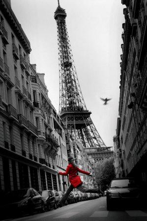 De rode jas, voor Eiffeltoren Affiches