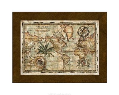 World Globe Map. World Map with Globe Giclee